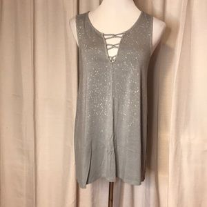 Laced Front Gray Tank - American Eagle
